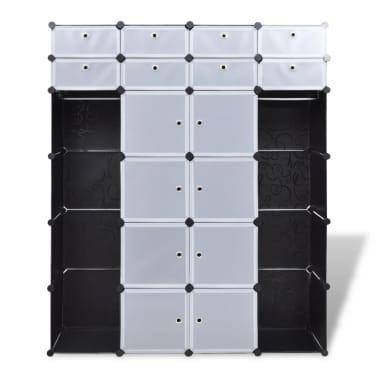 vidaXL Modulární skříň s 18 přihrádkami černobílá 37x146x180,5 cm[6/7]