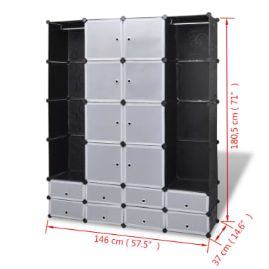 vidaXL Modulární skříň s 18 přihrádkami černobílá 37x146x180,5 cm[7/7]