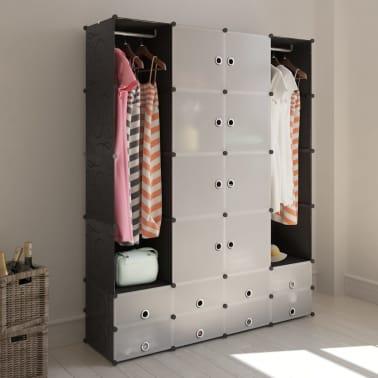 vidaXL Cabinet modulable avec 18 compartiments noir et blanc 37x146x180,5 cm[1/7]
