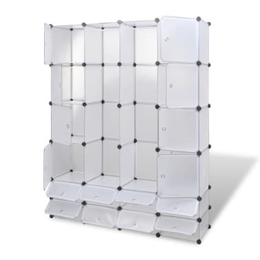 vidaXL Modulinė spinta, 18 skyrių, balta 37 x 146 x 180,5 cm[3/7]