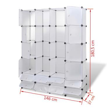 vidaXL Modulinė spinta, 18 skyrių, balta 37 x 146 x 180,5 cm[7/7]
