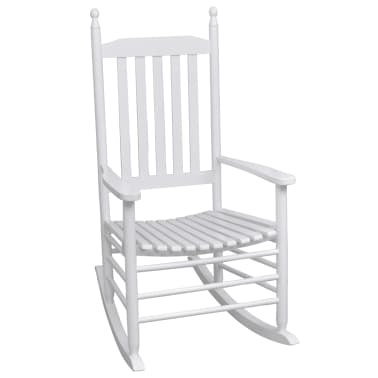 vidaXL Rocking Chair with Curved Seat White Wood[1/5]