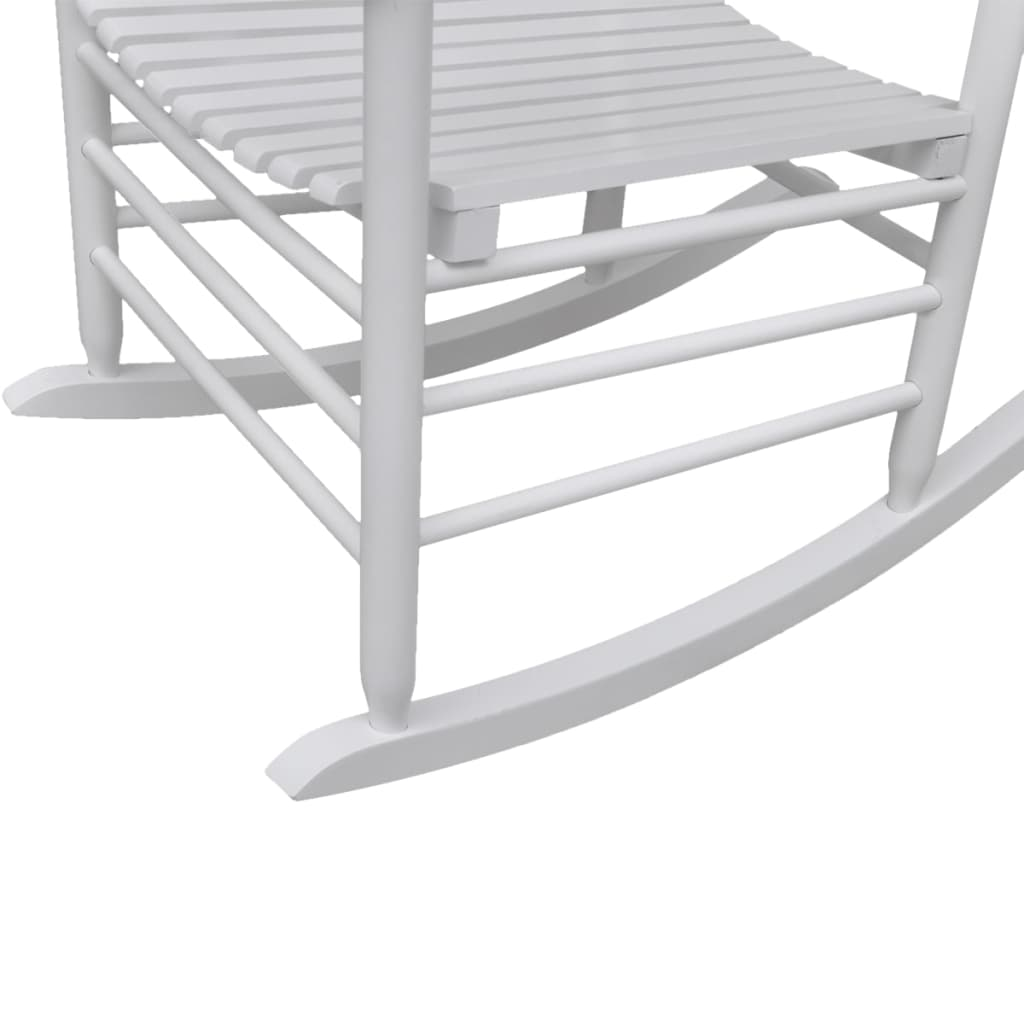vidaXL-Rocking-Chair-with-Curved-Seat-White-Wood-Garden-Patio-Indoor-Rocker thumbnail 3