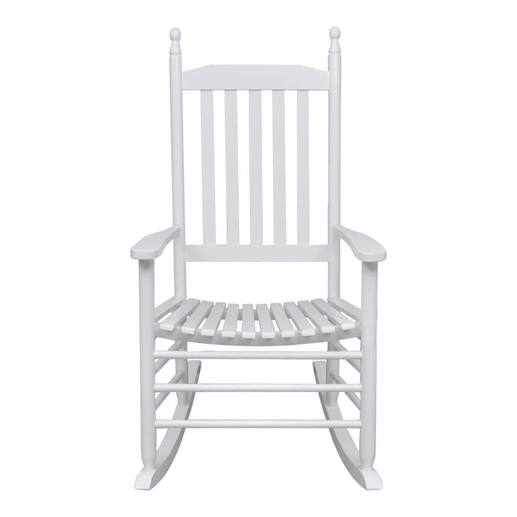 Sedia a Dondolo con Sedile Curvo Bianco in Legno