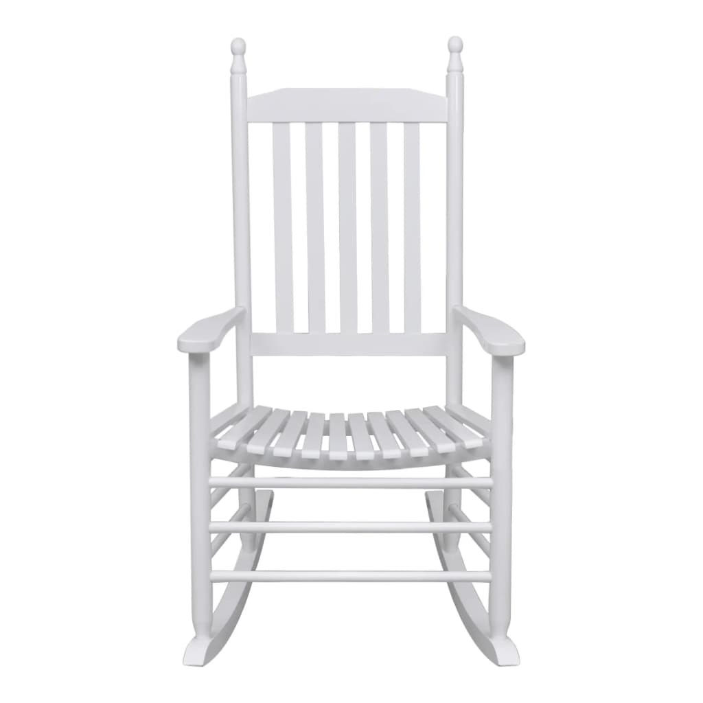 vidaXL-Rocking-Chair-with-Curved-Seat-White-Wood-Garden-Patio-Indoor-Rocker thumbnail 4