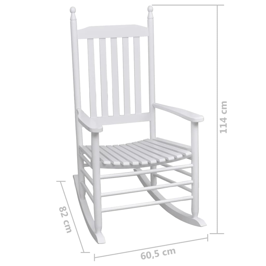vidaXL-Rocking-Chair-with-Curved-Seat-White-Wood-Garden-Patio-Indoor-Rocker thumbnail 5