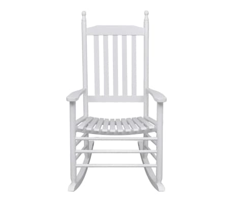 vidaXL Rocking Chair with Curved Seat White Wood[4/5]