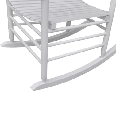 vidaXL Rocking Chair with Curved Seat White Wood[3/5]