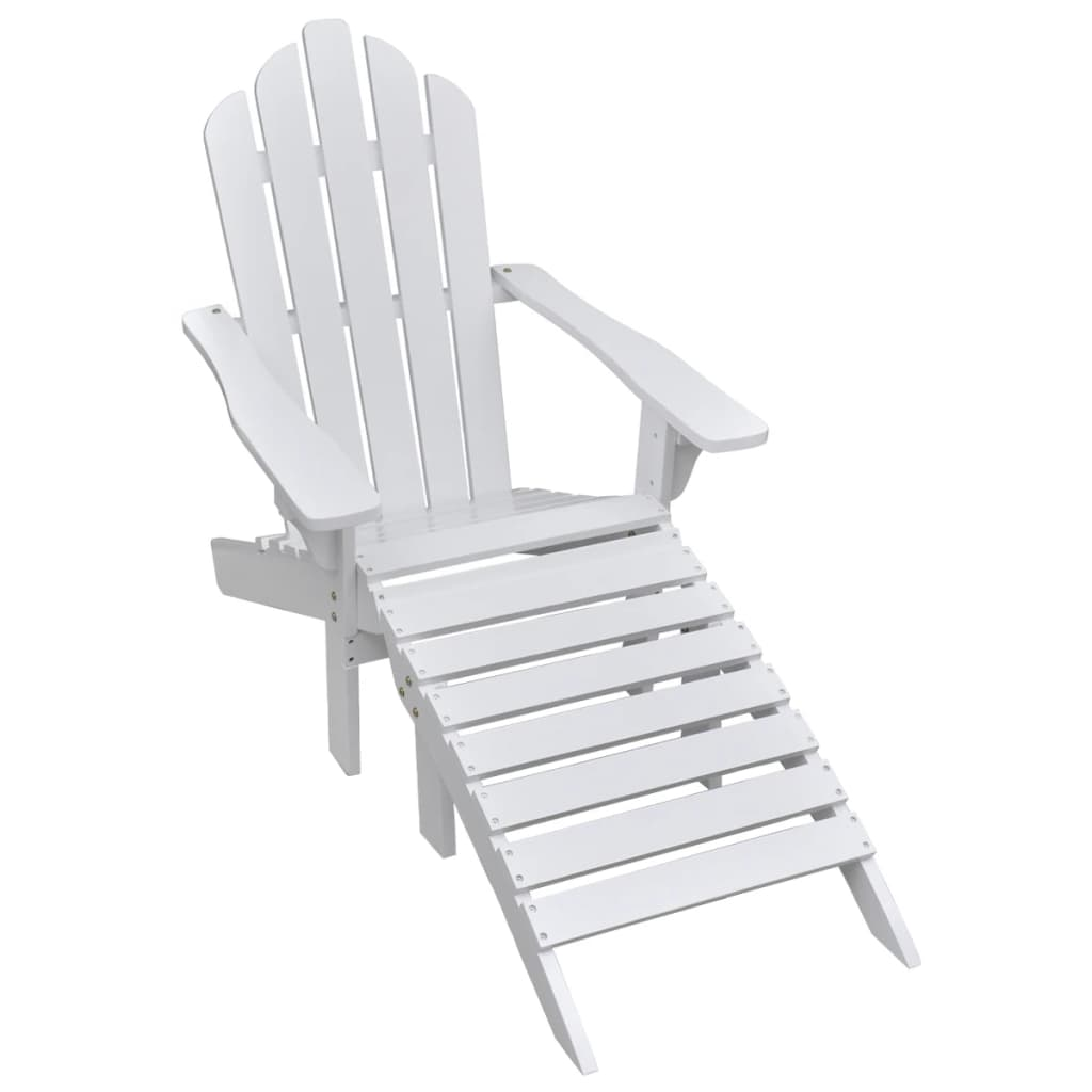 vidaXL-Garden-Chair-with-Ottoman-Wood-White-Outdoor-Patio-Seating-Lounger