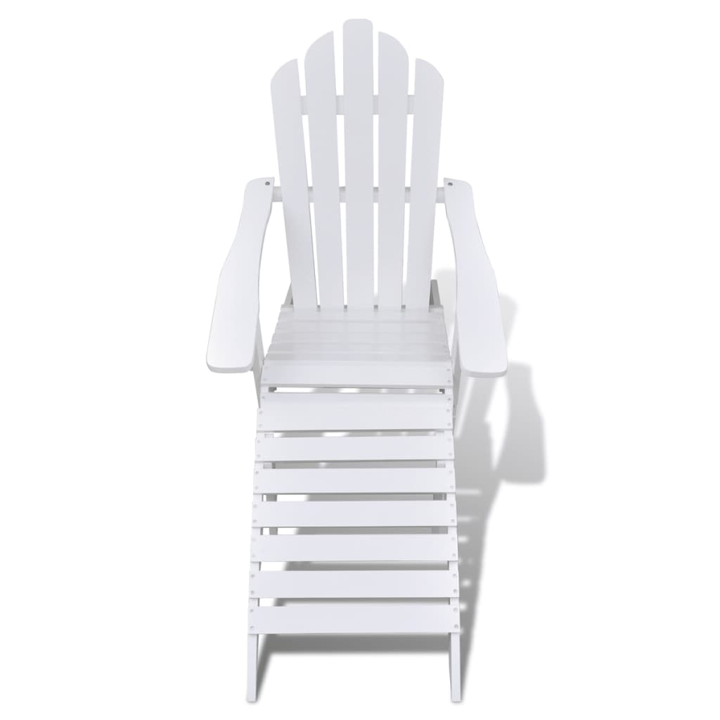 vidaXL-Garden-Chair-with-Ottoman-Wood-White-Outdoor-Patio-Seating-Lounger thumbnail 2