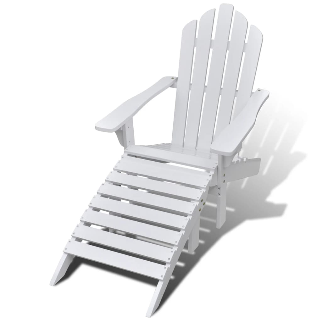 vidaXL-Garden-Chair-with-Ottoman-Wood-White-Outdoor-Patio-Seating-Lounger thumbnail 3
