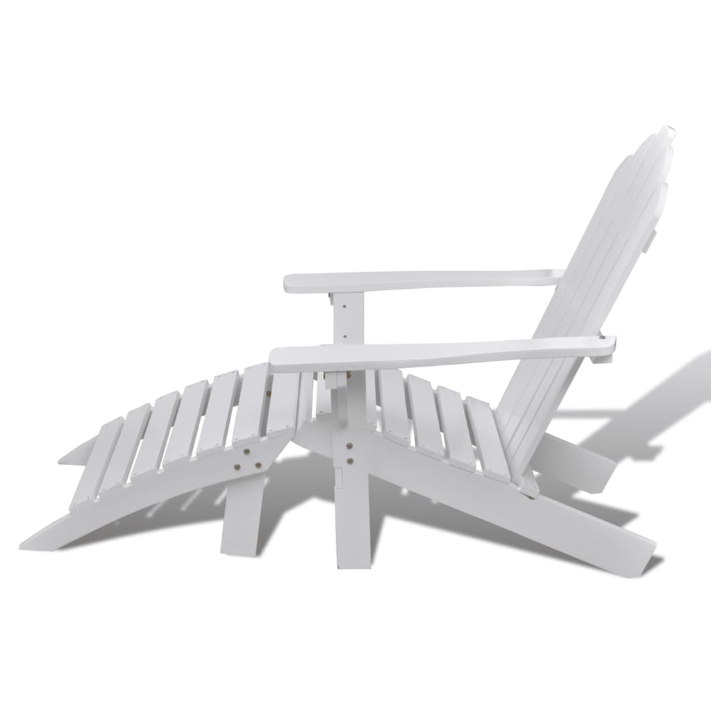 vidaXL-Garden-Chair-with-Ottoman-Wood-White-Outdoor-Patio-Seating-Lounger thumbnail 4
