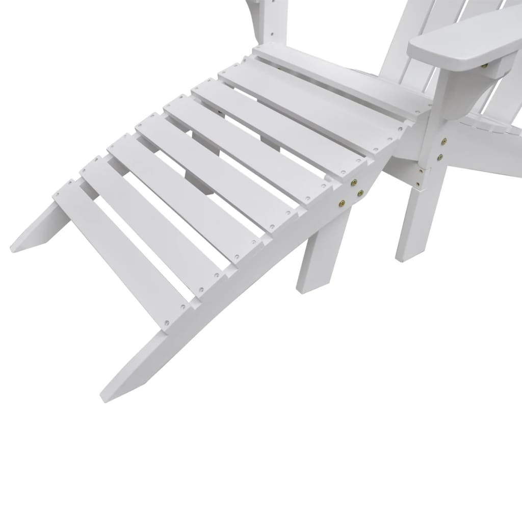 vidaXL-Garden-Chair-with-Ottoman-Wood-White-Outdoor-Patio-Seating-Lounger thumbnail 5