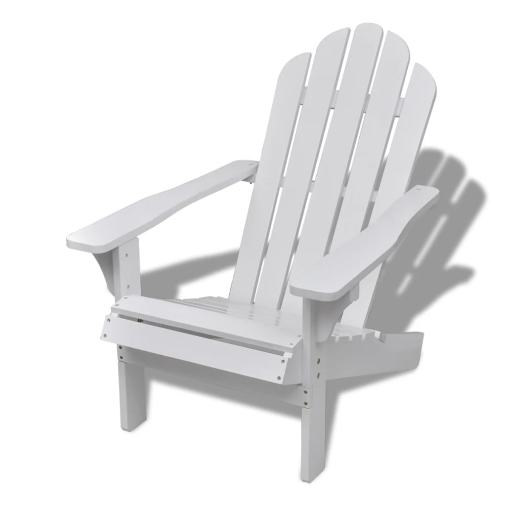 vidaXL-Garden-Chair-with-Ottoman-Wood-White-Outdoor-Patio-Seating-Lounger thumbnail 8