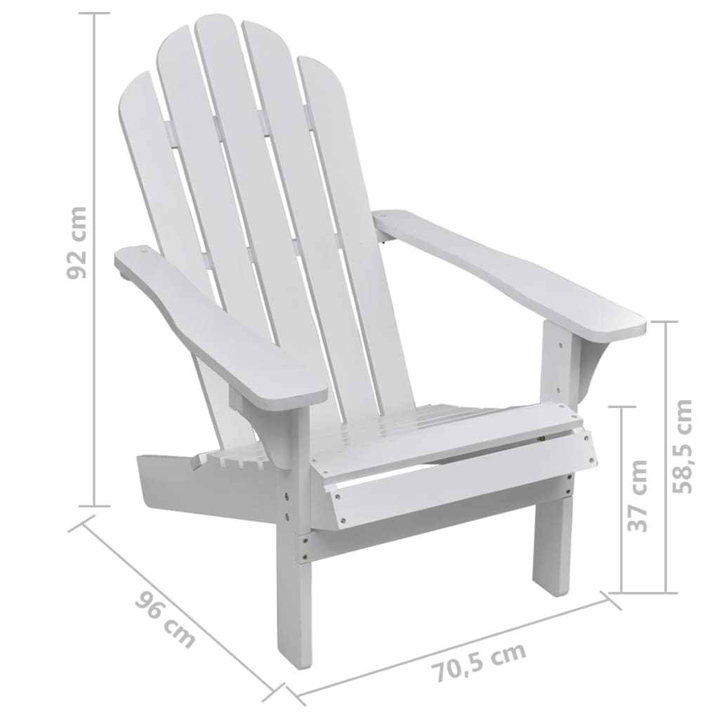 vidaXL-Garden-Chair-with-Ottoman-Wood-White-Outdoor-Patio-Seating-Lounger thumbnail 9