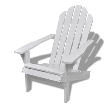 Wood Chair with Ottoman/Stool White[8/10]