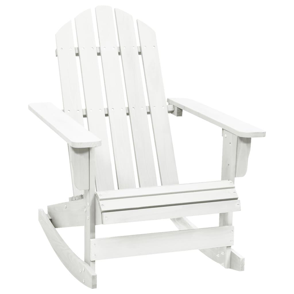 vidaXL Πολυθρόνα Κουνιστή Κήπου Λευκή Ξύλινη