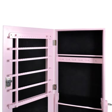 Acheter armoire bijoux rangement miroir meuble chambre rose pas cher - Meuble rangement bijoux miroir ...