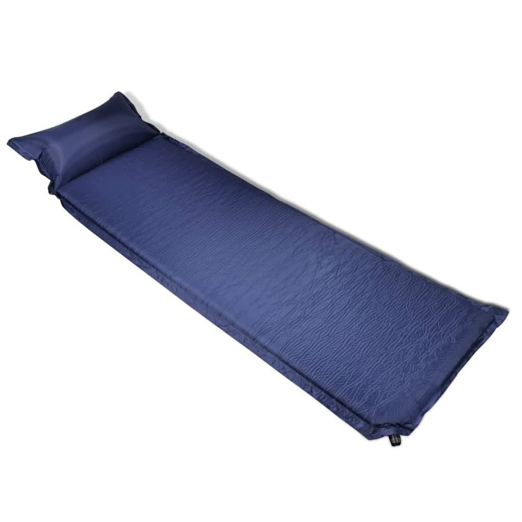 Modrá nafukovací matrace s polštářem 6 x 66 x 200 cm
