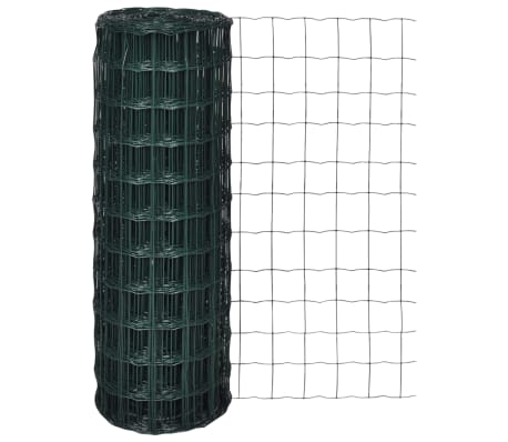 vidaXL Euro tvoros komplektas, žalias, 25x1,5m, plienas