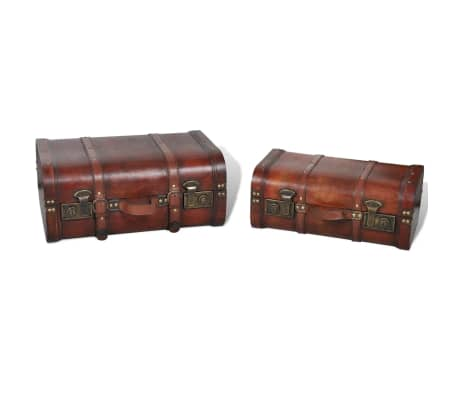 vidaXL Wooden Treasure Chest 2 pcs Vintage Brown[4/7]