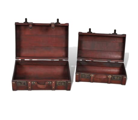 vidaXL Wooden Treasure Chest 2 pcs Vintage Brown[5/7]