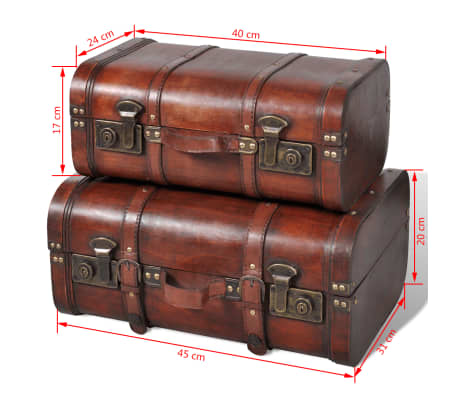 vidaXL Wooden Treasure Chest 2 pcs Vintage Brown[7/7]