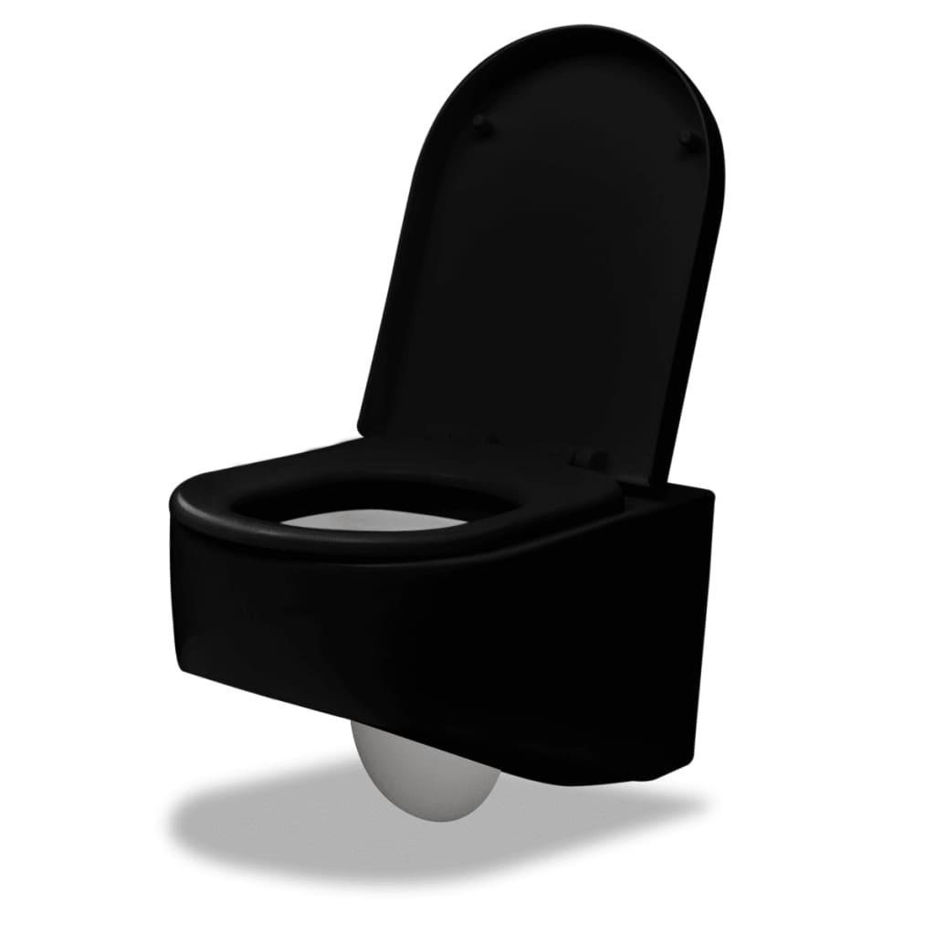 Závěsná toaleta černá kvalitní 55 x 35 x 33,5 cm