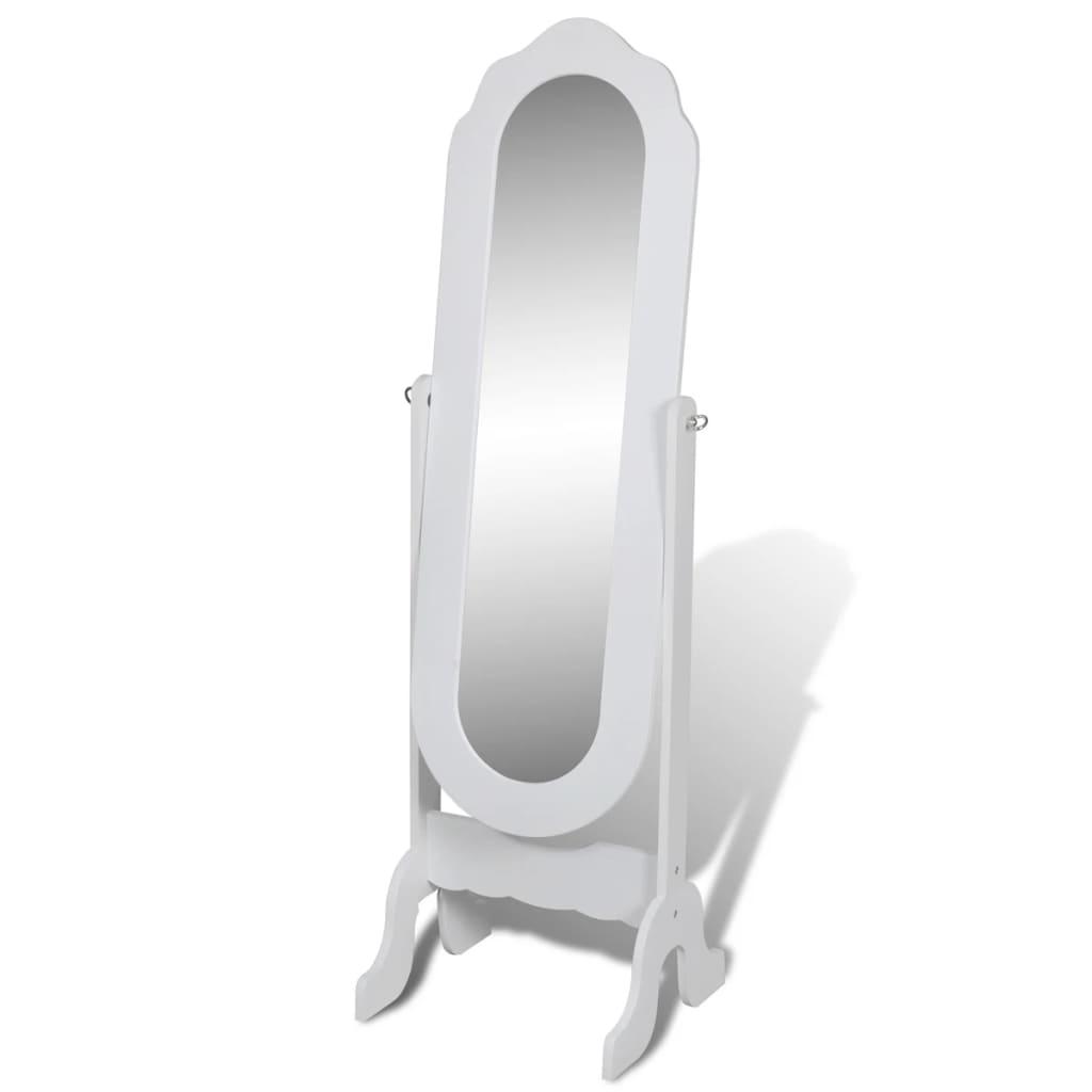 vidaXL Αυτόνομος καθρέφτης δαπέδου Ολόσωμος ρυθμιζόμενος Λευκός