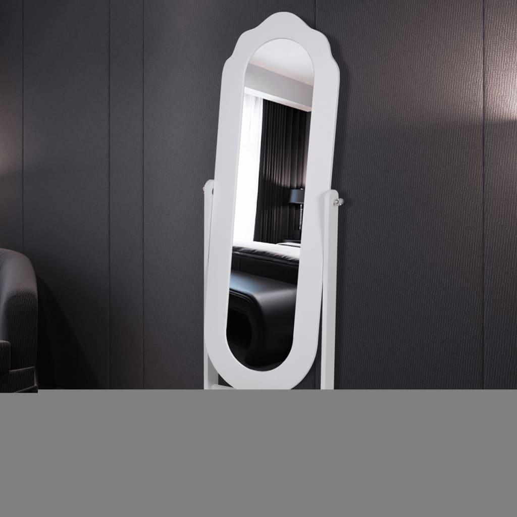 Bílé nastavitelné zrcadlo se stojanem