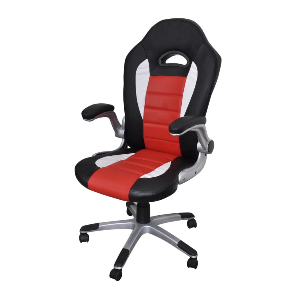 Kancelářská židle z umělé kůže s moderním designem, červená