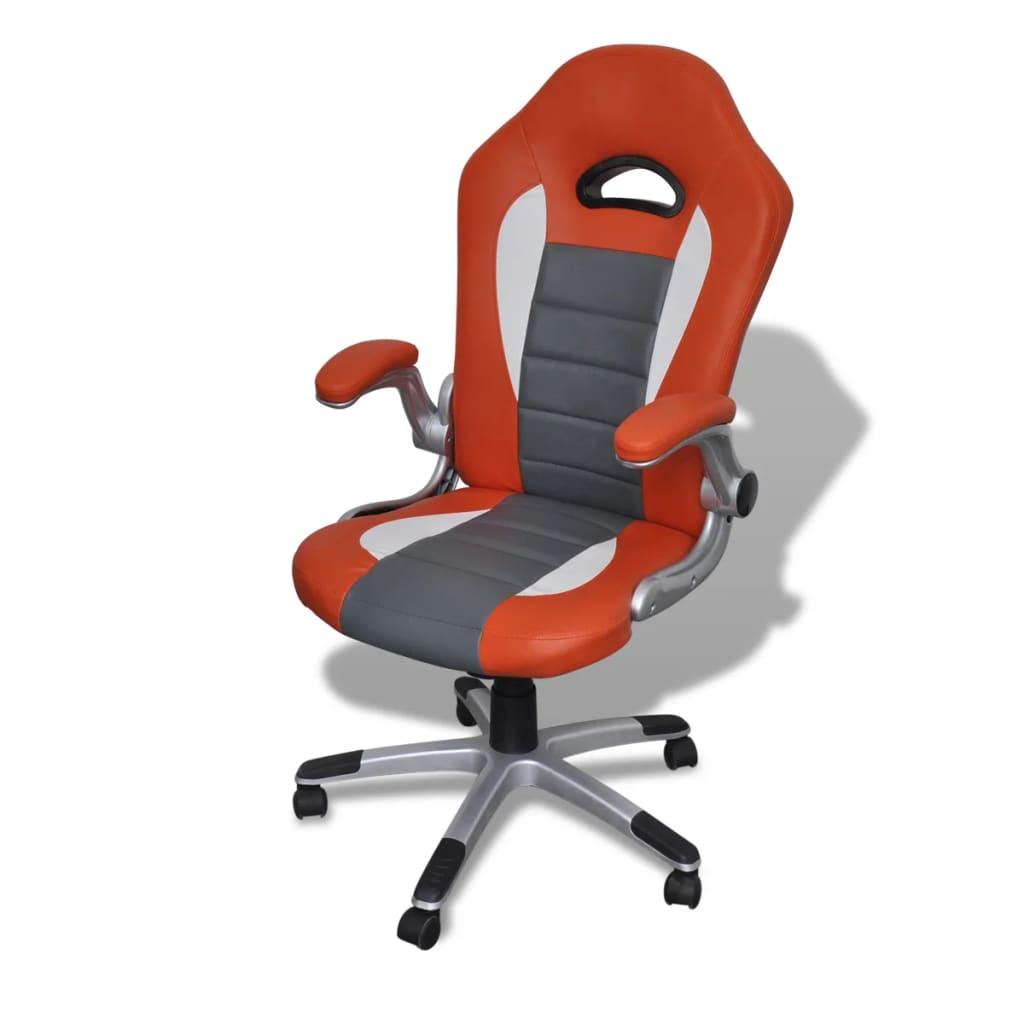 Kancelářská židle z umělé kůže s moderním designem, oranžová
