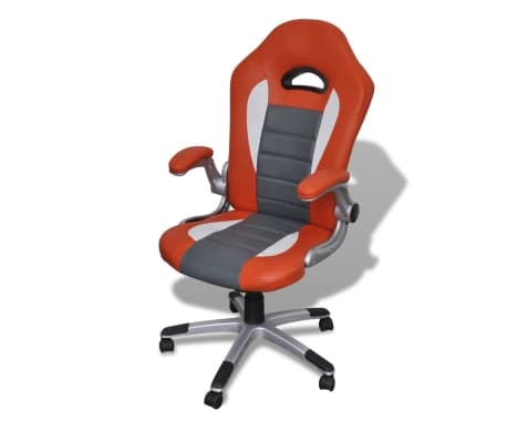 Fauteuil en similicuir moderne de bureau design orange[1/7]