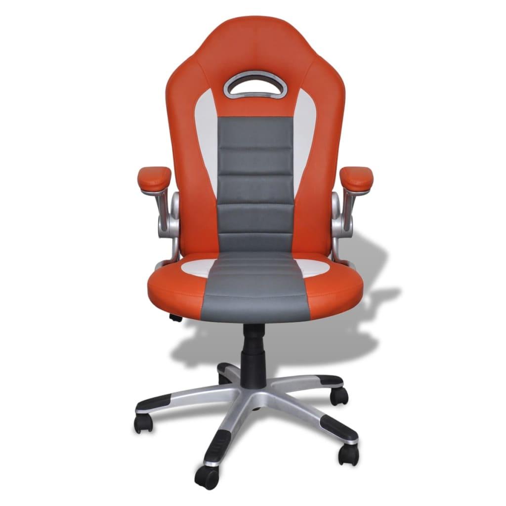 8718475857143 g en hd 1 - vidaXL Silla de Oficina de Cuero Diseño Moderno Naranja Silla oficina giratoria