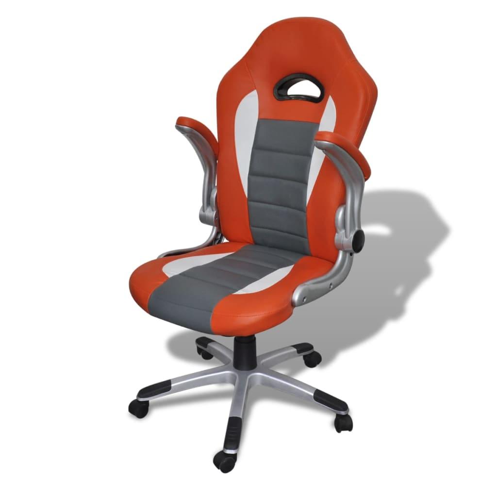 8718475857143 g en hd 3 - vidaXL Silla de Oficina de Cuero Diseño Moderno Naranja Silla oficina giratoria