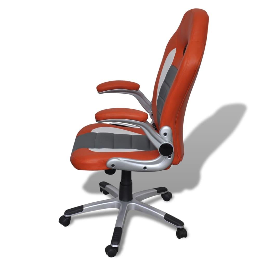 8718475857143 g en hd 4 - vidaXL Silla de Oficina de Cuero Diseño Moderno Naranja Silla oficina giratoria