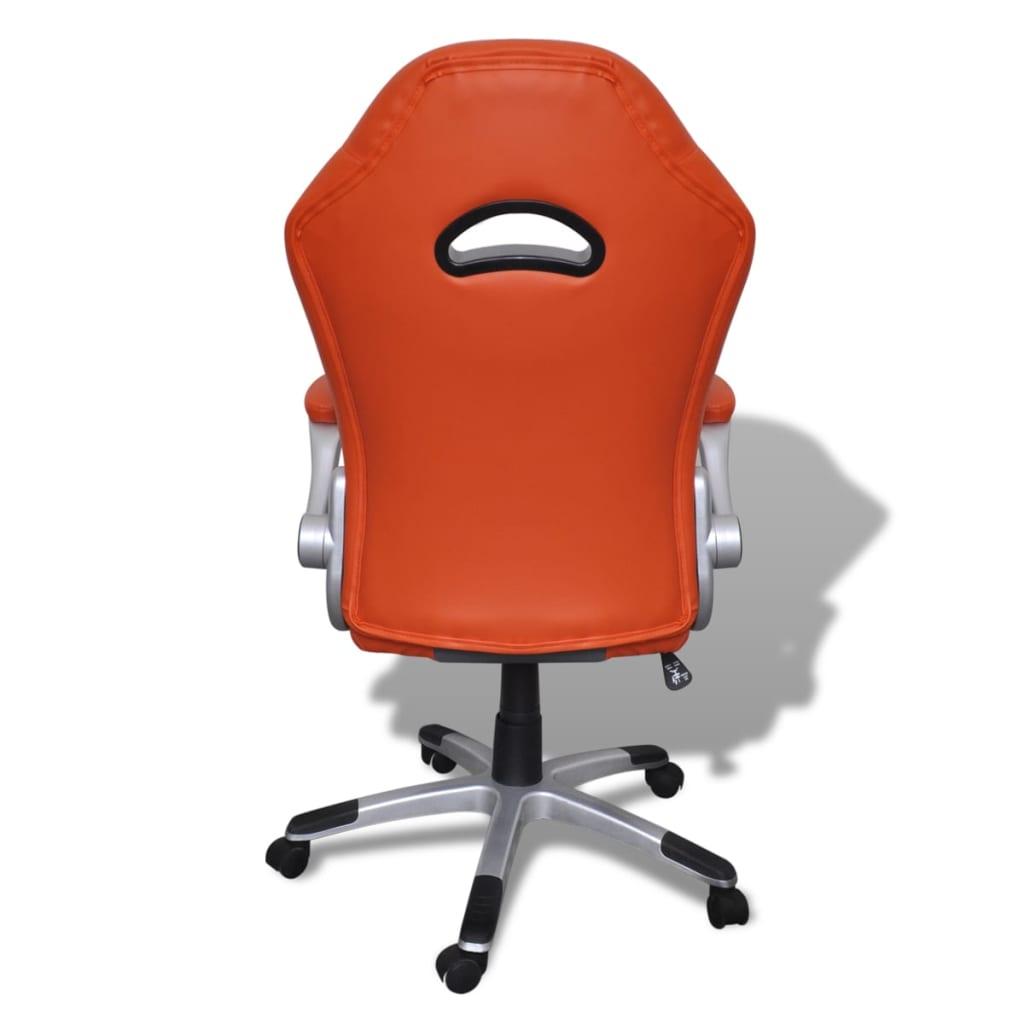 8718475857143 g en hd 5 - vidaXL Silla de Oficina de Cuero Diseño Moderno Naranja Silla oficina giratoria