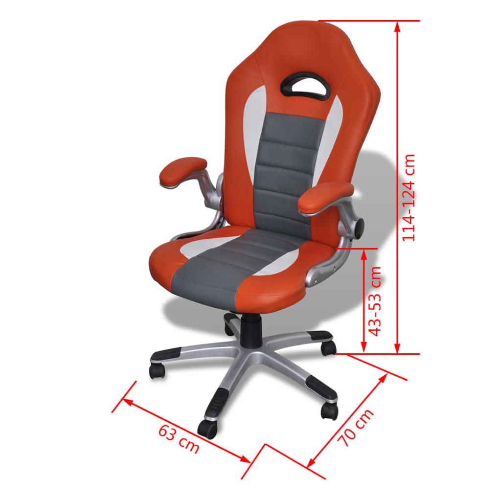 8718475857143 g en hd 6 - vidaXL Silla de Oficina de Cuero Diseño Moderno Naranja Silla oficina giratoria