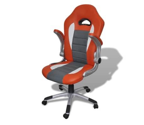 Fauteuil en similicuir moderne de bureau design orange[4/7]