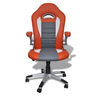 Fauteuil en similicuir moderne de bureau design orange[2/7]