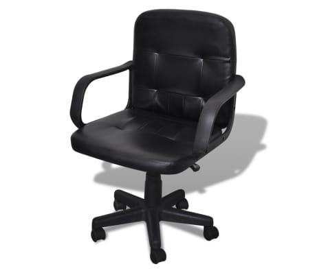 Bureaustoel leer met exclusief design zwart 59 x 51 x 81-89 cm[1/5]