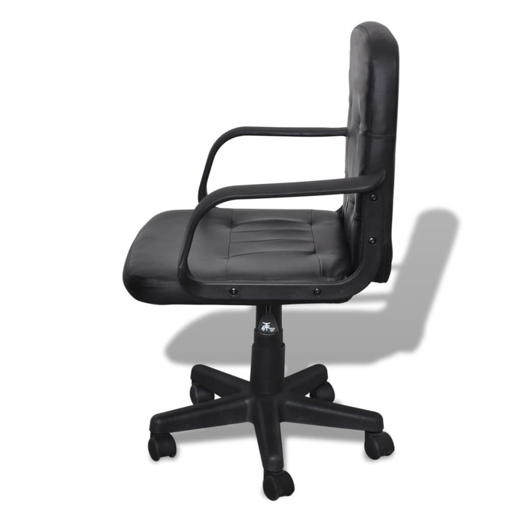 vidaXL Bureaustoel leer met exclusief design zwart 59 x 51 x 81-89 cm
