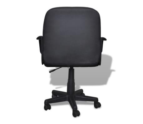 Bureaustoel leer met exclusief design zwart 59 x 51 x 81-89 cm[3/5]