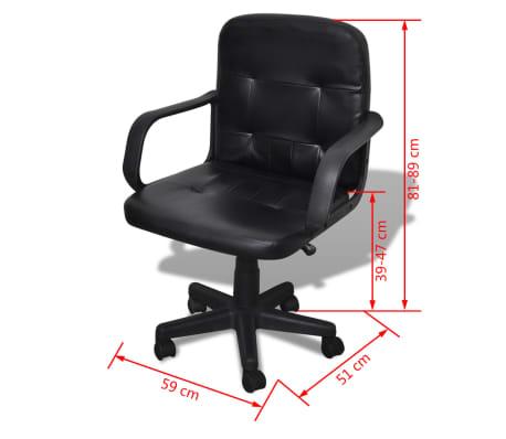 Bureaustoel leer met exclusief design zwart 59 x 51 x 81-89 cm[5/5]