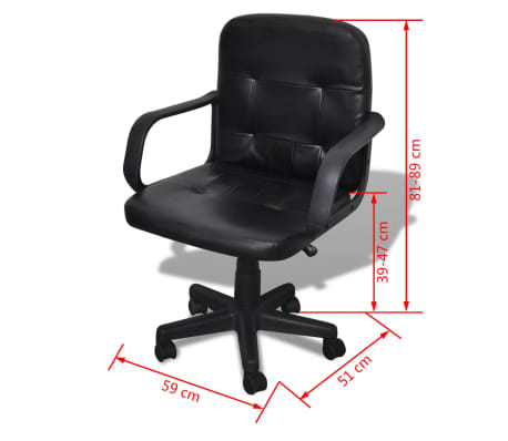 vidaXL Luxury Office Chair Quality Design Black 59 x 51 x 81-89 cm[5/5]