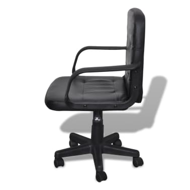 Bureaustoel leer met exclusief design zwart 59 x 51 x 81-89 cm[2/5]