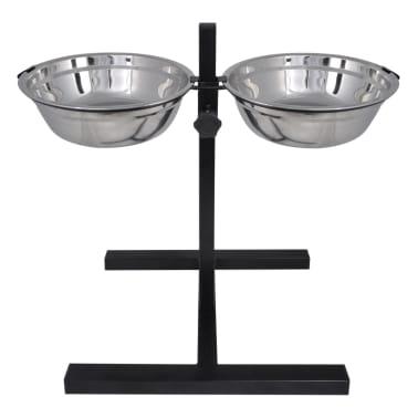 vidaXL Justerbar ställning & 2 x 2,6 L matskålar i rostfritt stål[3/7]