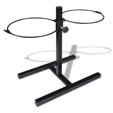 vidaXL Justerbar ställning & 2 x 2,6 L matskålar i rostfritt stål[6/7]