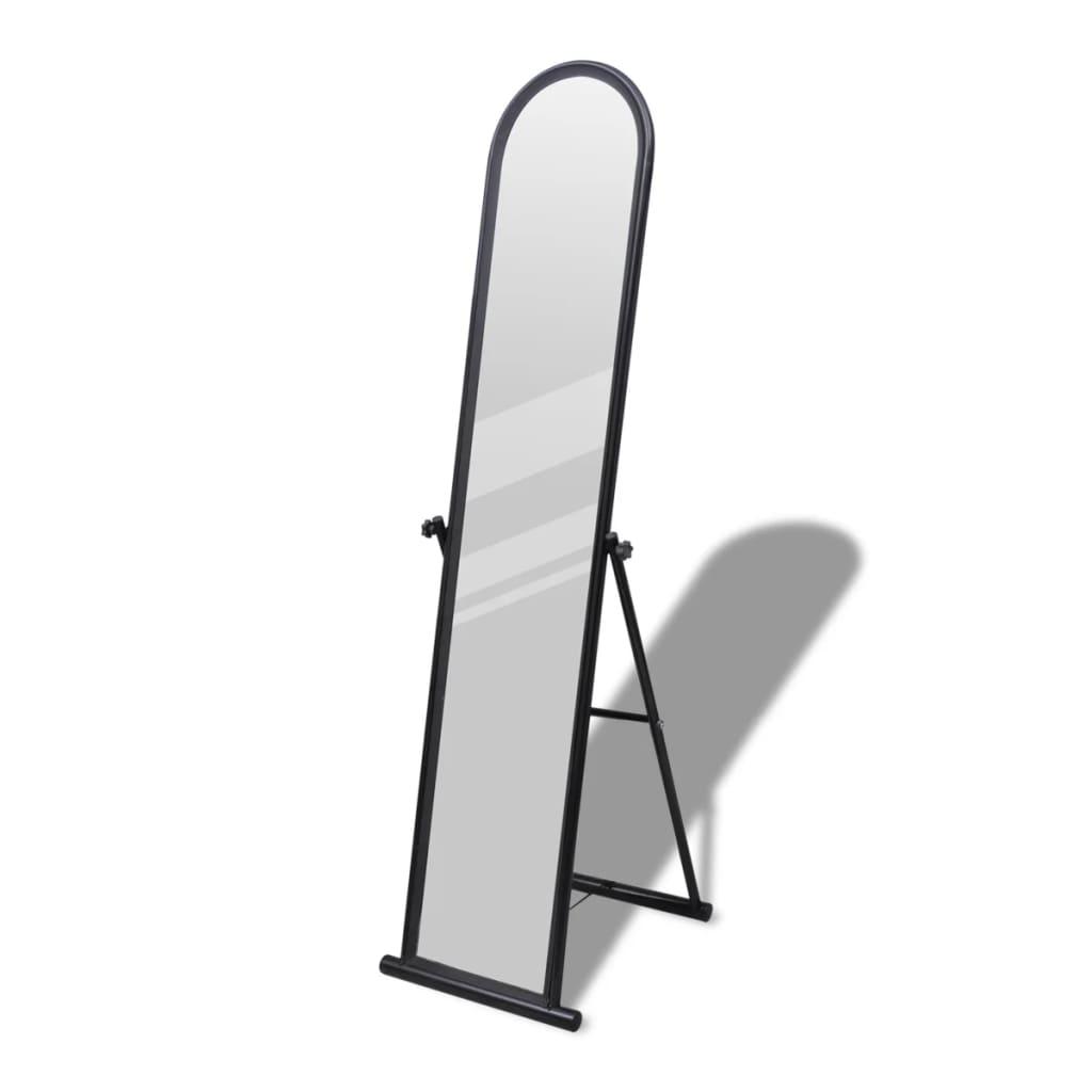 Vrijstaande rechthoekige spiegel volledige lengte (zwart)