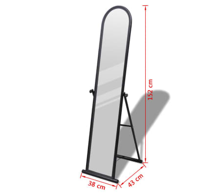 Free Standing Floor Mirror Full Length Rectangular Black[6/6]